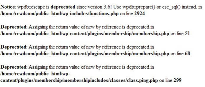 function deprecated pada WordPress