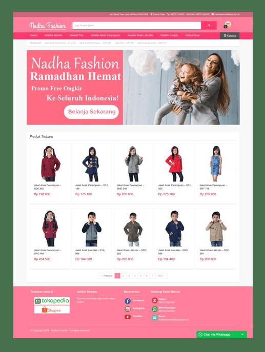 Theme toko online Nadha Fashion dari layanan web hosting & jasa pembuatan toko online