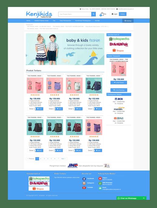 Theme toko online kenjikids dari layanan web hosting dan jasa pembuatan website toko online