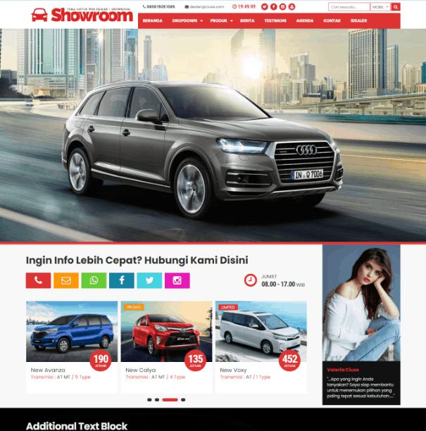 Demo tampilan Website Showroom dari jasa pembuatan website sales mobil Gapuradealer